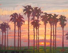 Sunrise Palms by Rene Wiley, 16 x 20 inches, Oil on Panel by Rene' Wiley Gallery ~ x
