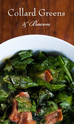 Collard Greens with Bacon ~ Collard greens cooked until wilted with bacon, onion, garlic, vinegar, sugar, and a dash of hot sauce. ~ SimplyRecipes.com