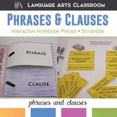 Phrases and Clauses Interactive Notebook Pieces and Scramble - practice this tough grammar concept in a variety of ways.