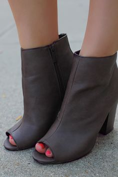 Brown Leatherette Chunky Heel Open Toe Bootie | UOIonline.com: Women's Clothing Boutique