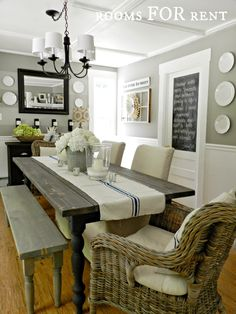 35 Gorgeous Farmhouse Dining Room Decor Ideas Ideas Easy To Managed - Home Decor Ideas Dining Room Walls, Dining Room Design, Dining Chairs, Dining Buffet, Wicker Chairs, Kitchen Dinning, Chair Cushions, Dining Bench, Kitchen Decor