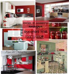 Design si accesorii amenajare bucatarii rosii clasic si vintage Kitchens, Kitchen Cabinets, Vintage, Design, Home Decor, Decoration Home, Room Decor, Cabinets, Cuisine