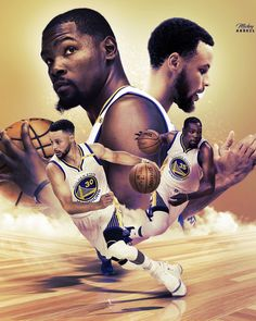 Kevin Durant Steph Curry Warriors Duo. NBA Art #wmcskills