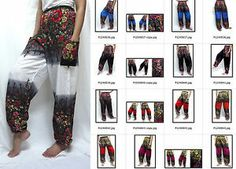 thai fisherman pants Hill tribe harem gypsy yoga HIPPIE BOHO floral dot pants  boho pants