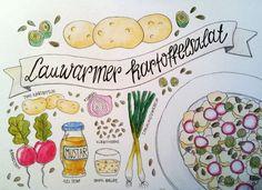 Lauwarmer Kartoffelsalat Illustration Fixate Cookbook, Making A Cookbook, Cookbook Recipes, Salad Drawing, Food Drawing, Sketch Note, Food Illustrations, Food Pictures, Recipes