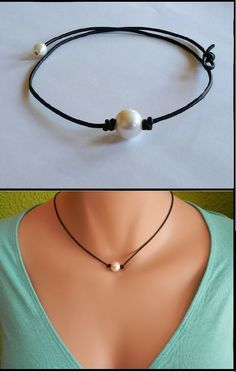 High Quality Freshwater Pearl and Leather Necklace/choker. Limited edition. Now available to order http://www.deal-shop.com/product/levaca-womens-long-sleeve-button-cowl-neck-casual-slim-tunic-tops-with-pockets/