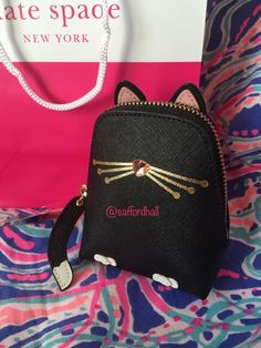 293f92ecee63 😻NWT KATE SPADE Kitty Cat Coin Purse Black Leather Jazz Things Up 🐱