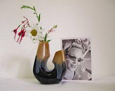 Vintage, vecchio vaso in ceramica vaso, vaso doppio circa 1950, design vaso retrò, vaso, vaso art deco vaso centro tavolo