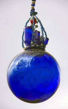 'Blue Glass Village' by Mark Ramstead Blue Glass Bottles, Cobalt Glass, Cobalt Blue, Cerulean, Periwinkle, Love Blue, Blue And White, Yellow, Lazuli