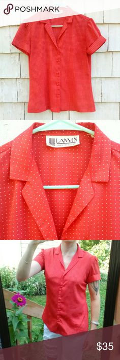 """Lanvin Vintage Polka Dot Top This classic,  unique, vintage, red with white polka, cuffed sleeved,  fabric covered button down top by high-end designer, Lanvin is so versatile!  From classic,  preppy,  rockabilly, to straight rockstar this beautiful blouse is ideal for anyone! Tag says size 8, but will best fit sizes 2-4 (maybe a size 6)..see measurements. No stretch to material,  which feels like polyester. Chest is 19"""" wide,  shoulders are 15"""" wide. Total length is 23"""" long. In great…"""