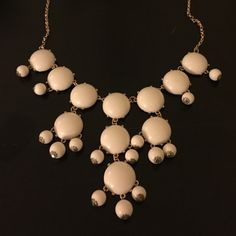 White Bubble Statement Necklace Barely worn white and gold necklace. Jewelry Necklaces