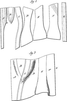 Corset -an patent. I should paper-model this. Corset Sewing Pattern, Bra Pattern, Pattern Drafting, Vintage Patterns, Vintage Sewing, Sewing Hacks, Sewing Projects, Corset Tutorial, Clothing Patterns