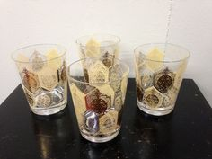 Set of 4 Yellow and Gold MidCentury Modern by PurpleIrisVintage, $30.00
