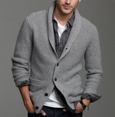 Shop this look on Lookastic: https://lookastic.com/men/looks/grey-shawl-cardigan-black-denim-shirt-white-crew-neck-t-shirt-navy-jeans/641 — Grey Shawl Cardigan — White Crew-neck T-shirt — Navy Jeans — Black Denim Shirt