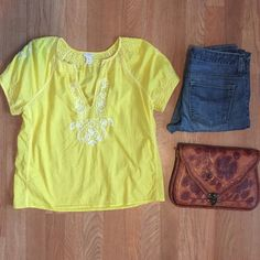 J.Crew peasant yellow top sz XS. Embroidery! Cute! J.Crew Factory peasant yellow top. Size: XS. Length (shoulder to hem): 22 inches. Canary yellow with white embroidery. Flowy peasant style. Short sleeves. Great preowned condition. Cute worn as a top or as a bathing suit cover up  :) J. Crew Tops