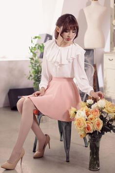 Japanese Fashion - Single color waist A word chiffon skirt - AddOneClothing - 5