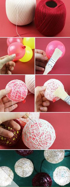 Tinker Fairy Lights – Instructions, Stencils & Ideas for Lampshades Instructions – Making a fairy lights – Yarn balls – Talu.de The post Tinker Fairy Lights – Instructions, Stencils & Ideas for Lampshades appeared first on DIY Fashion Pictures. Yarn Crafts, Crafts To Sell, Home Crafts, Diy And Crafts, Crafts For Kids, Arts And Crafts, Creative Crafts, Nature Crafts, Creative Art