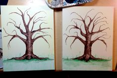 Set of acrylic painted thumbprint trees.