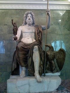 This is a statue of Jupiter, the Roman sky god. Jupiter is known as the god of gods and is similar to the Greek god, Zeus.