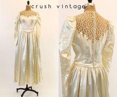 40s Silk Charmeuse Wedding Dress / 1940s Tea by CrushVintage, $102.00