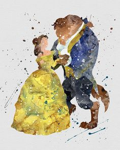 Watercolor Beauty and the Beast | Belle and Beast Home Print | 8.5 x 11 | Wall Decor