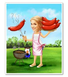 Wiener Roast Caricature from Photos - myDaVinci.com If the snow doesn't go away...I will be outside grilling with my bomber hat on!!!!!