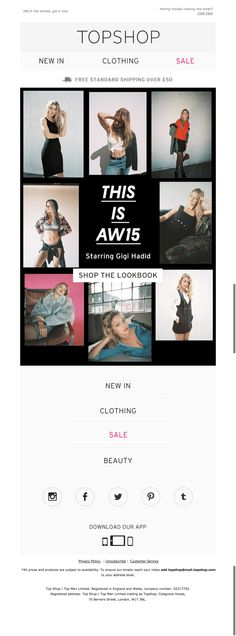 topshop gigi email - this is aw15 (fashion)