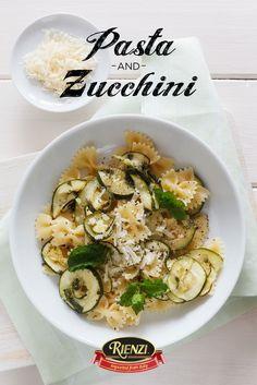 Rienzi Bowtie Pasta with Fresh Zuchinni. A refreshing summer pasta dish. RienziFoods.com