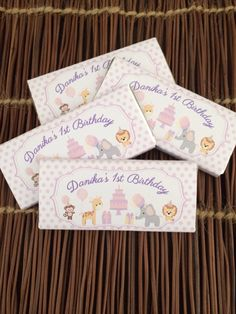 Cute 1st birthday party favour chocolate bar wrappers.   Visit http://facebook.com/moderndesigns1 to see more products in my albums