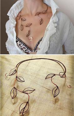 Necklace foliage Jewelry Jewelry made of copper by AlenaStavtseva