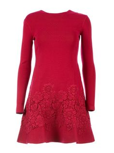 Valentino Floral Lace Detail Sweater Dress - Cumini - Farfetch.com