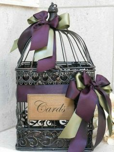 Wedding Card Holder / Birdcage Cardholder / Rustic Card Box / Plum /  Eggplant Wedding Décor   Pretty Up The Bird Cage And Hide Cards A Little, I  Love It!