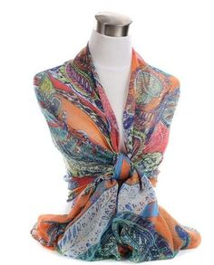 Aztec Tribal Indian Inspired Pattern Paisley Light Scarf - Scarf Planet - $6.99 Free Shipping! www.scarfplanet.com