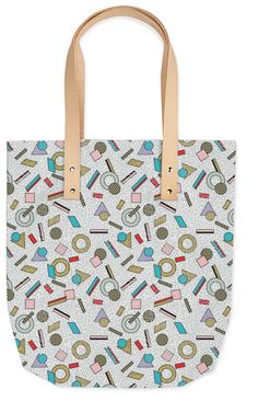 80s Memphis Milan inspired design in Pastel, seasonofvictory PAOM Print All Over Me bag tote