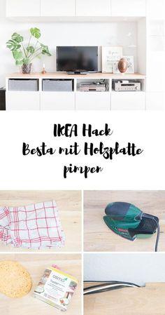 Ikea Hack - So einfach machst du aus deinem Besta ein Designerstück! Mit einer Holzplatte aus dem Baumarkt wirkt der Schrank viel wohnlicher und passt perfekt ins skandinavische Wohnkonzept!