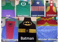 Hulk, Green Lantern, Captain America, Ironman, Spiderman, Batman, and Wonder Woman Aprons! Talk about Super Cooks!