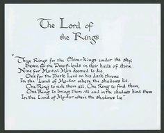 The Ring Verse, hand-written by Tolkien