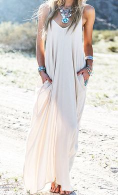 Spice up a basic maxi dress with dramatic accessories.