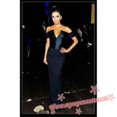 Eva Longoria Dark Navy Off-the-Shoulder Prom Dress 2013 NCLR ALMA Awards $129.99 each at Mysupercenter.net