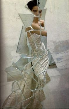 """maliciousglamour: """" Reflections Harper's & Queen, February 1987 Photographer: David Seidner Model: Francine Howell Dress by Victor Edelstein """" Mirror Photography, Reflection Photography, Photography Projects, Portrait Photography, Fashion Photography, Reflection Art, Human Photography, Broken Mirror, Broken Glass"""