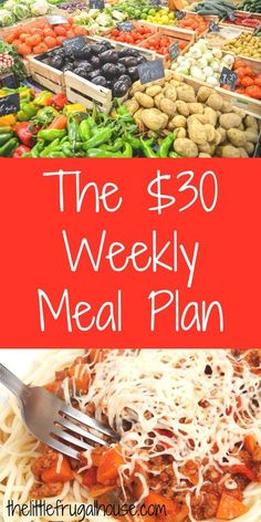 Are you looking for a simple way to save money This 30 weekly meal plan includes a free shopping list and menu plan for cheap meals on a budget Low Budget Meals, Budget Meal Planning, Cooking On A Budget, Frugal Meals, Budget Meals For A Week, Cheap Meals On A Budget Families, Budget Recipes, Food On A Budget, Freezer Meals
