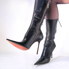 Leather lace up designer high heels boots