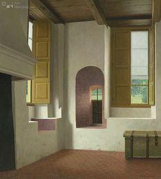 Het Sael van de Weem in Warffum Art:Henk Helmantel Dutch Painters, Hyperrealism, Urban Landscape, Art World, Industrial Design, Interior Architecture, New Homes, Gallery Walls, Mirror