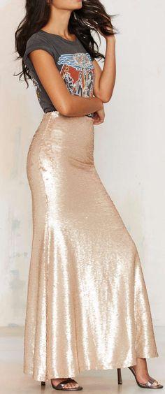 Rose gold maxi skirt