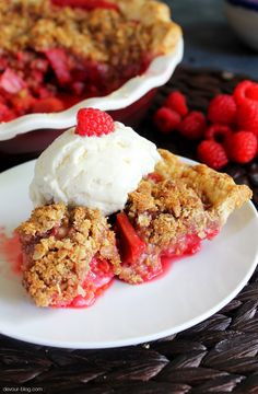 This one's easy: replace the butter with earth balance and voila! Vegan! Raspberry Rhubarb Crumble Pie. devour-blog.com