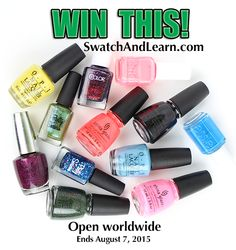 Celebrate SwatchAndLearn.com's 5th blogiversary by entering the worldwide giveaway by August 7, 2015 at 11:59 pm EDT. (Full details are on the website.)