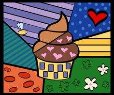 Cupcake pop-art by Romero Britto … Arte Pop, Jackson Pollock, Painting For Kids, Art For Kids, Abstract Pattern, Abstract Art, Stained Glass Quilt, Acrylic Paint On Wood, Arte Country