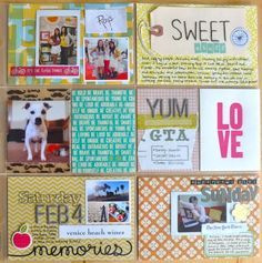 fun colors. like the LOVE card, stitching words on the tag and the vellum behind the dog photo.