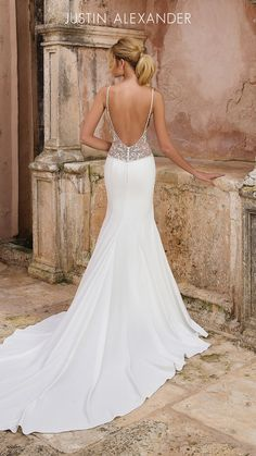 Wedding Dress 88036 by Justin Alexander - Search our photo gallery for pictures of wedding dresses by Justin Alexander. Find the perfect dress with recent Justin Alexander photos. Sleek Wedding Dress, Wedding Dress Low Back, Wedding Dresses 2018, Backless Wedding, Wedding Dress Sleeves, Bridal Dresses, Dress Lace, Wedding Dress Beach, Fitted Wedding Dresses