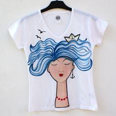 Dámské tričko Sea Lady kombinovaná technika: malba + aplikace